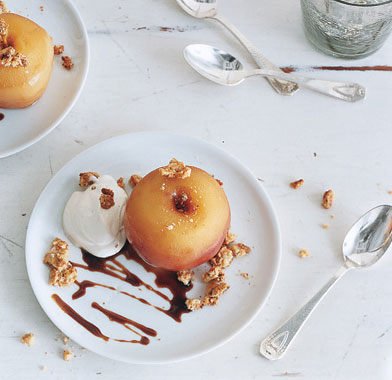 Cider-Poached Apples with Candied Walnuts, Rum Cream, and Cider Syrup