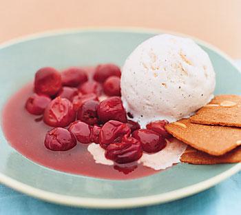 Warm Skillet Sour Cherries with Vanilla Ice Cream