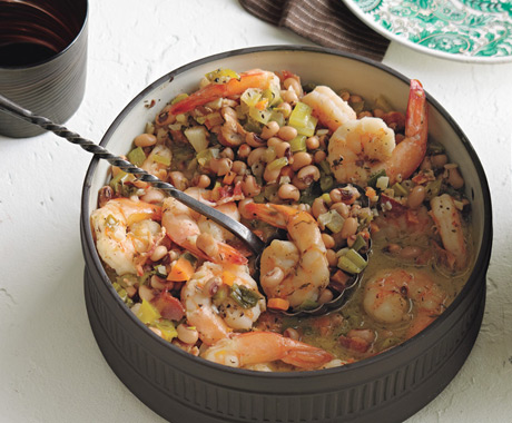 Garlicky Black-Pepper Shrimp and Black-Eyed Peas