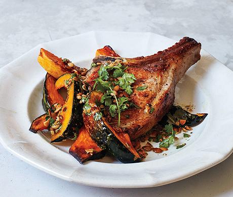 Pork Chops and Squash with Pumpkin Seed Vinaigrette