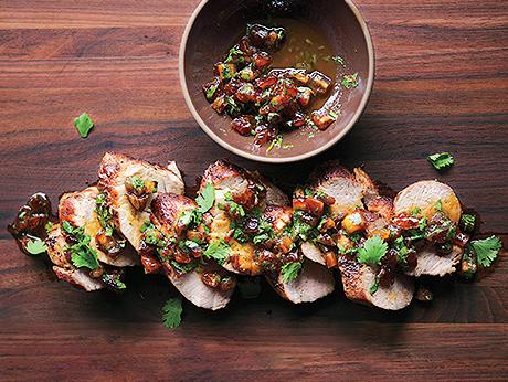 Pork Tenderloin with Date and Cilantro Relish