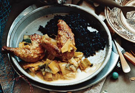 Fricassee of Game Hen with Creamy Leeks and Vadoum