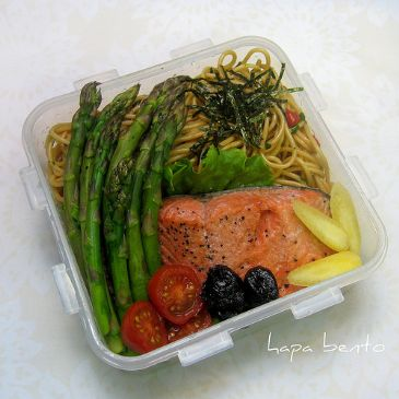 Poached Salmon and asparagus over pasta