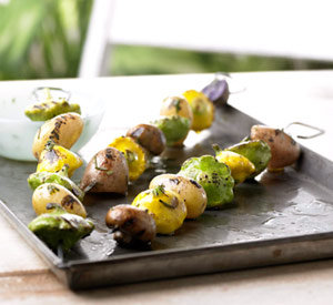 Smokin' Hot Potato Kabobs with Rosemary-Chipotle Butter