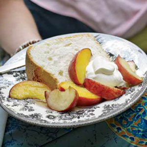 Great-Grandmother Pearl's Angel Food Cake with Peaches