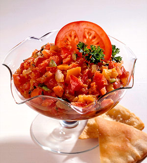 Roasted Vegetable Caviar with Toasted Pita Chips