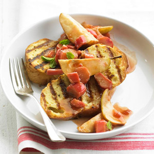 Gale Gand's Grilled Buttermilk Bread Pudding with Rhubarb-Pear Compote