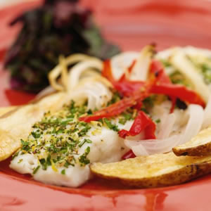 Halibut Roasted with Red Bell Peppers, Onions & Russet Potatoes
