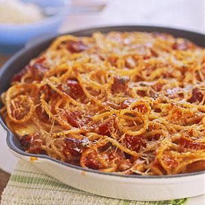 Spaghetti Pepperoni Pie