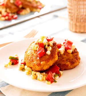 Corn Fritters with Tomato-Corn Salsa