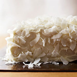 Coconut Cake with Saffron Cream