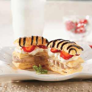 Chocolate Mousse Napoleons with Strawberries and Cream