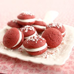 Red Velvet Whoopie Pies with Peppermint Filling