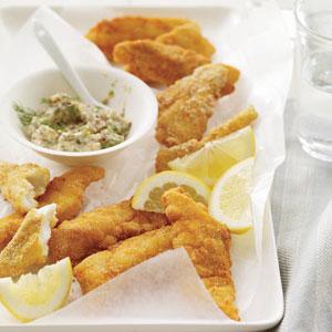 Crunchy Fish Sticks with Tartar Sauce