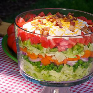 Cousin Annies 7 Layer Salad with Thousand Island Dressing