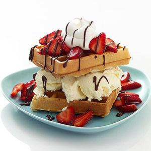 Strawberry Waffle Sundaes