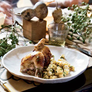Cornish Hens with Plum-and-Leek Stuffing and Celery Root