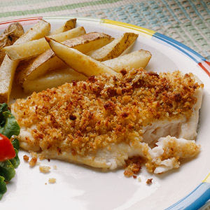 Crunchy Topped Fish with Potato Sticks