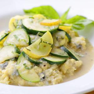 Creamy Gorgonzola Polenta with Summer Squash Saute