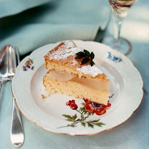 Almond Cake with Pears and Creme Anglaise