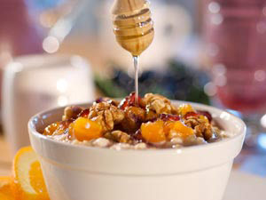 Apricot-Cranberry Oatmeal with Walnuts