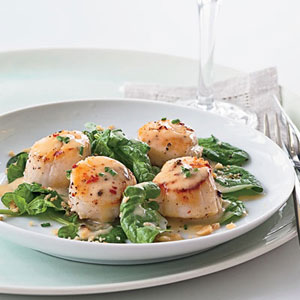 Seared Scallops with Pinot Gris Butter Sauce