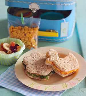 Flower- and Duck-Shaped Cheddar Cheese and Ham Finger Sandwiches