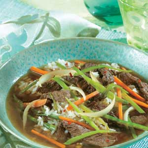Spicy Asian Beef and Snow Pea Soup