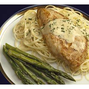 Dressed Chicken Breasts with Angel Hair Pasta