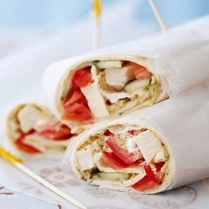 Chicken and Hummus Wraps