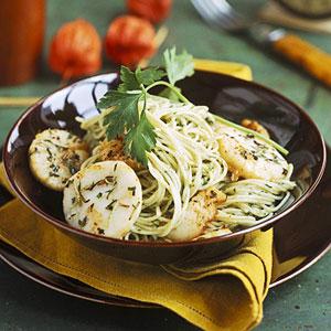 Scallops And Walnut Pesto Over Cappellini