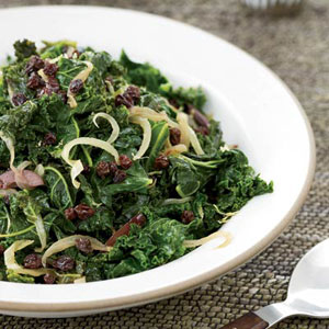 Kale with Currants, Lemon, and Olives