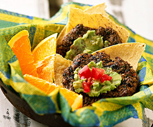 Southwestern Black Bean Cakes with Guacamole