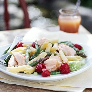 Salmon Penne Salad with Raspberry Vinaigrette