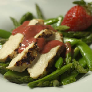 Grilled Chicken Salad with a Fresh Strawberry Dressing