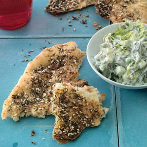 Za'atar Flatbreads with Cucumber-Yogurt Salad