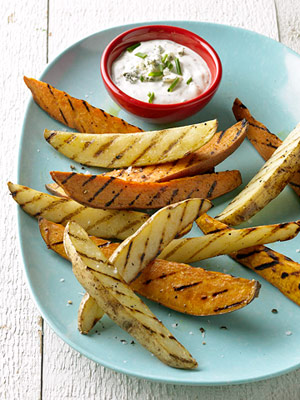 Grilled Sweet Potato Wedges with Dipping Sauces