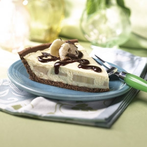 Chocolate Banana Cream Pie made with Reduced Fat Pie Crust