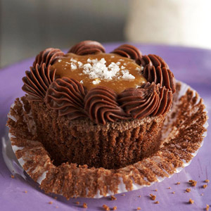 Salted Caramel-Chocolate-Bourbon Cupcakes