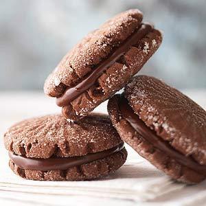 Minty Cocoa Fudge Sandwich Cookies