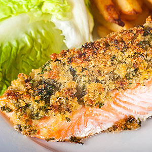 Roasted Salmon with Macadamia-Cilantro Crust
