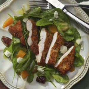 Warm Arugula Salad with Chicken & Chevre