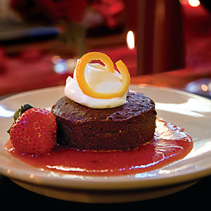 Flourless Chocolate Cake with Strawberry Sauce