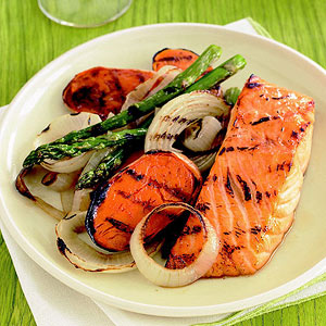 Maple-Glazed Salmon with Grilled Vegetables