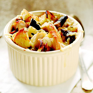 Chicken and Portobello Bread Pudding