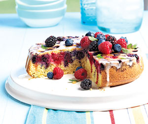 Upside-Down Berry Cornmeal Cake