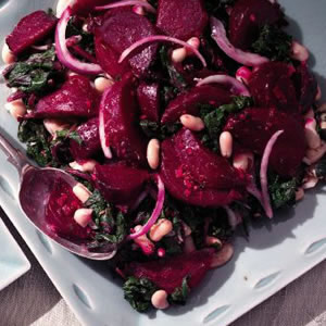 Beets & Greens Salad with Cannellini Beans