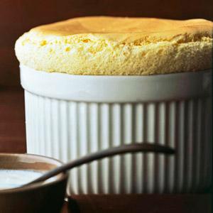 Vanilla Bean Souffle with Vanilla Custard Sauce