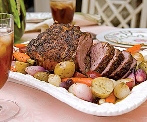 Roasted Leg of Lamb with Lemon-and-Herb Vegetables