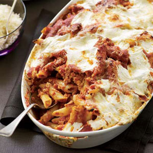Baked Penne with Sausage and Creamy Ricotta